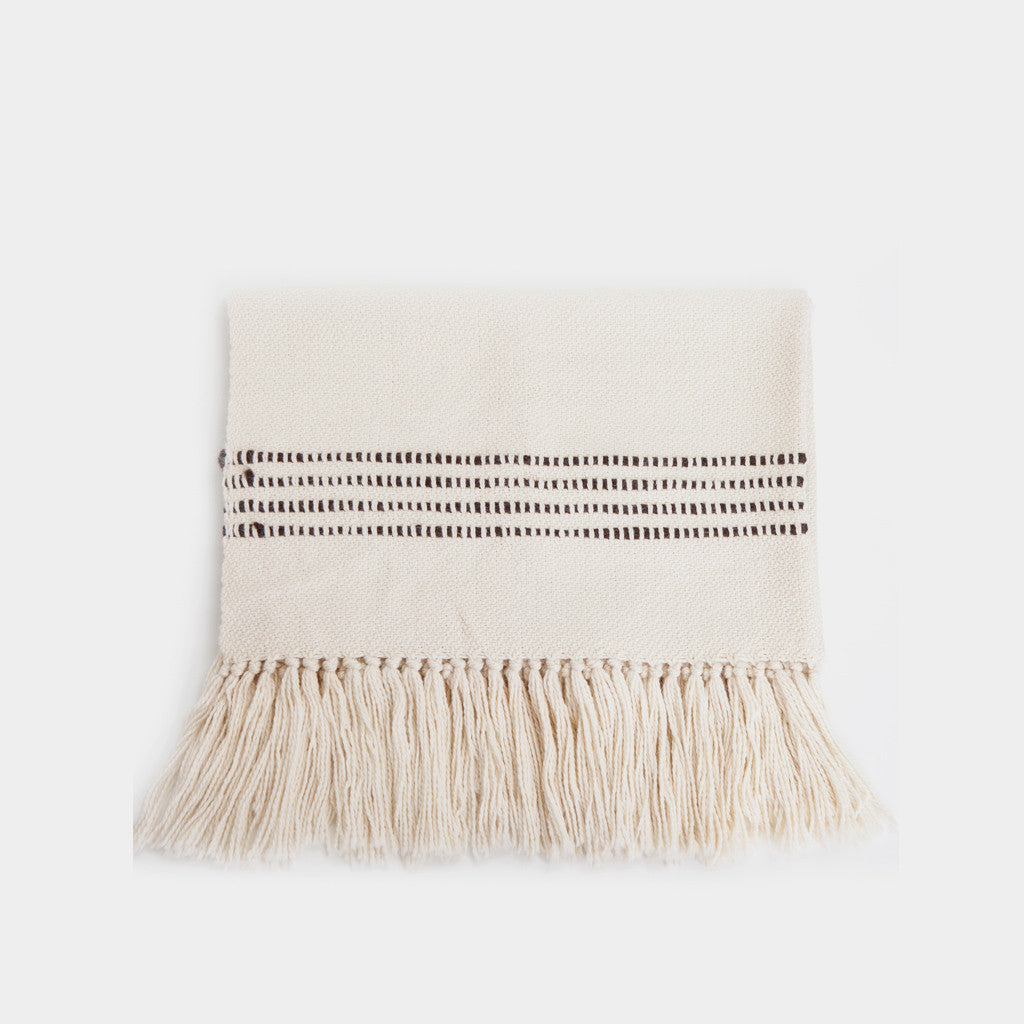 Striped Throw Blanket - Natural/Brown