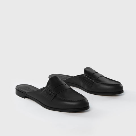 Loafer Mule - Black Leather