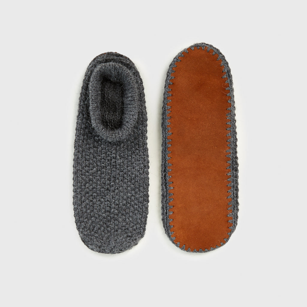 Alpaca Suede Sole Slippers - Charcoal/Cognac
