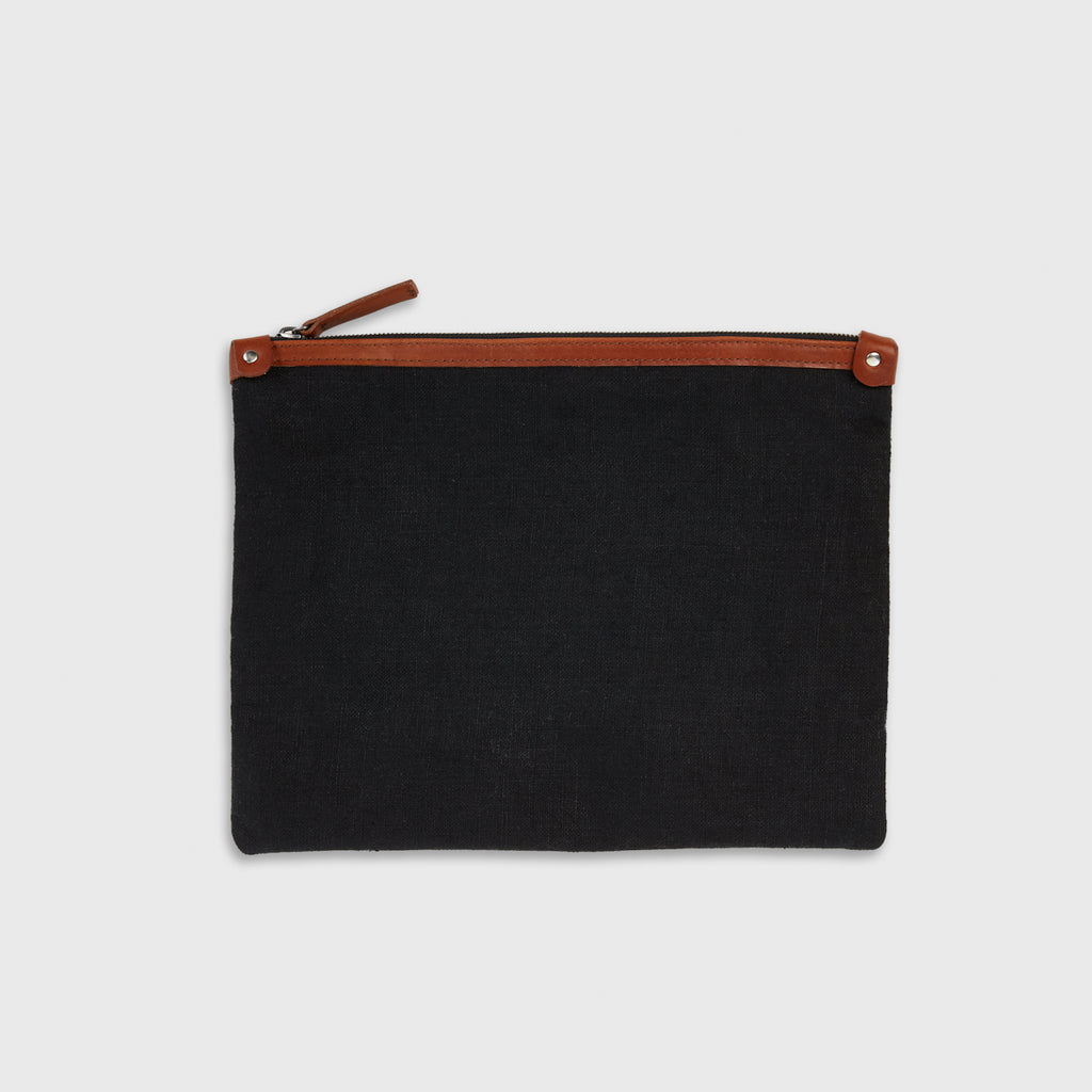 Linen Large Travel Clutch - Black