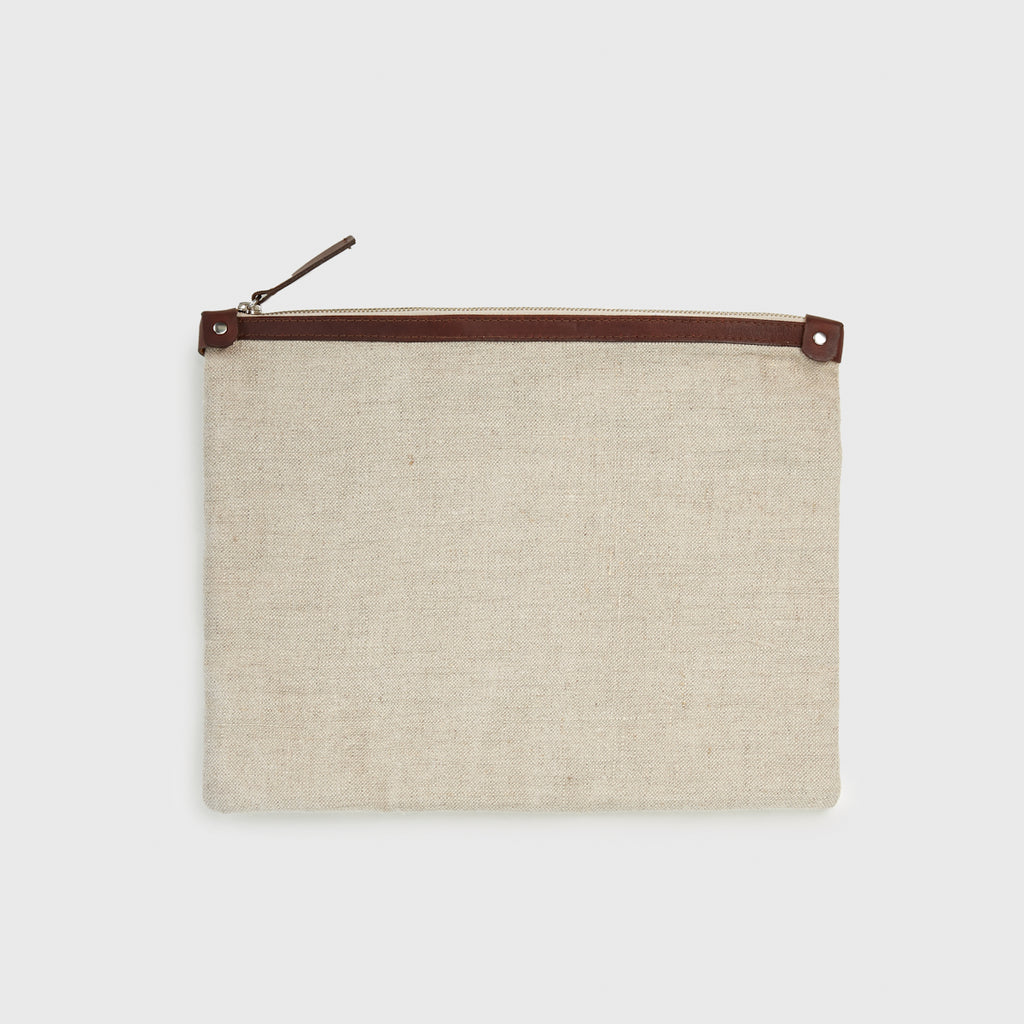 Linen Large Travel Clutch - Natural