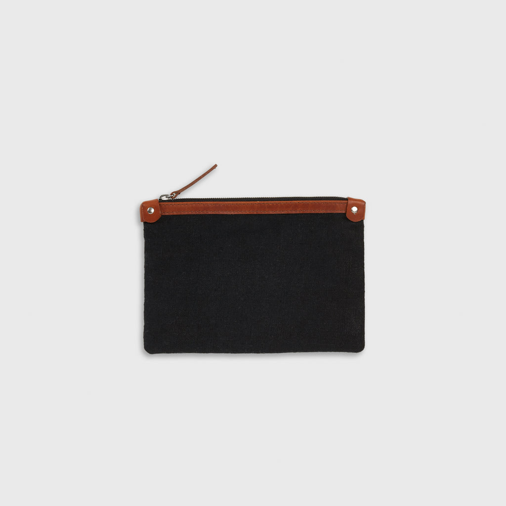 Linen Small Travel Clutch - Black