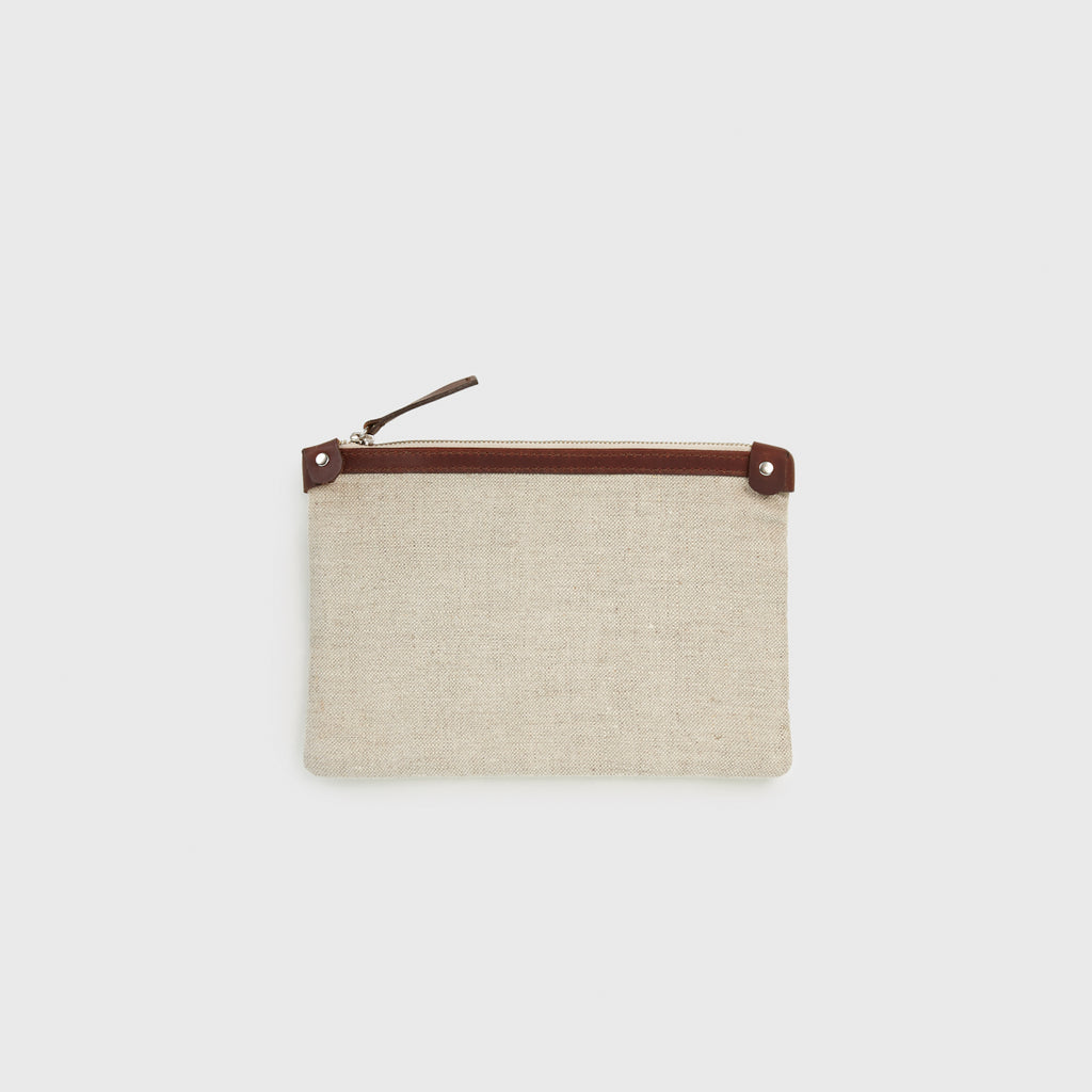 Linen Small Travel Clutch - Natural