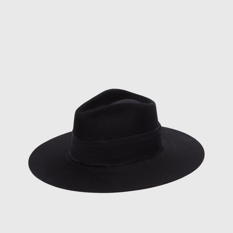 Aya Wool Felt Hat - Black