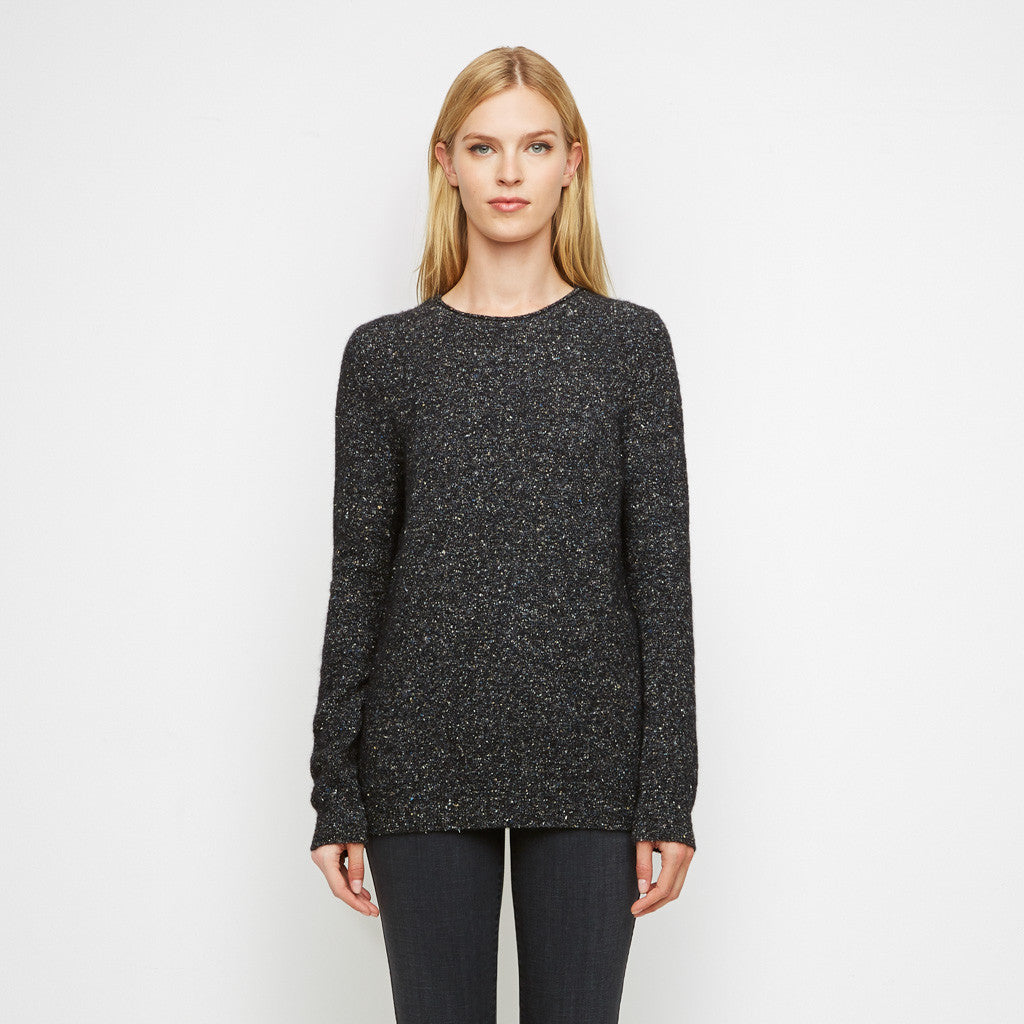 Alpaca Tweed Rollneck Crewneck Sweater - Black