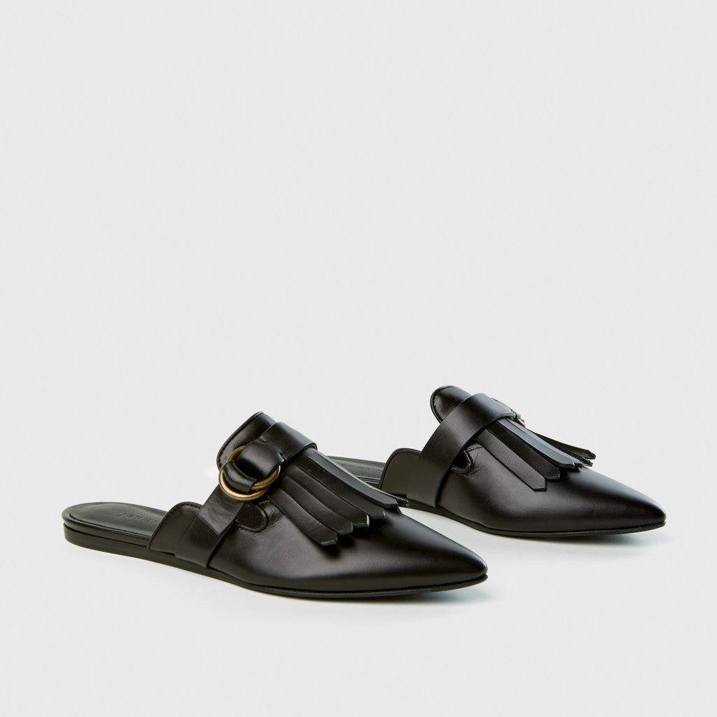 Buckle Fringe Mule - Black Leather