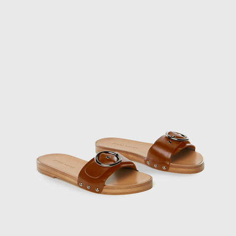 Buckle Slide Sandal - Saddle Leather