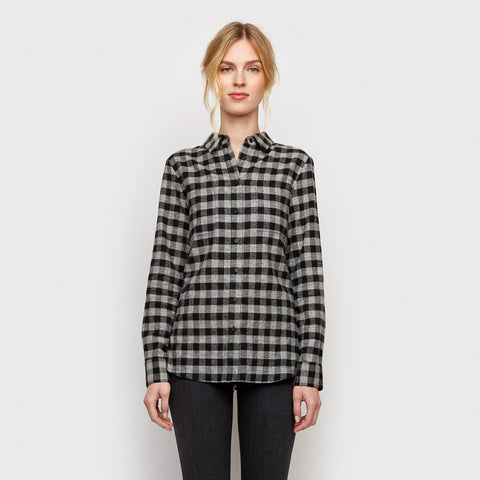 Buffalo Check Boyfriend Shirt - Charcoal/Black