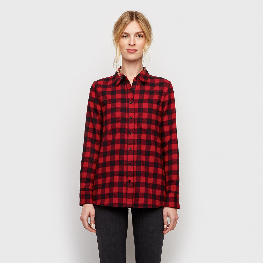 Buffalo Check Boyfriend Shirt - Red/Black