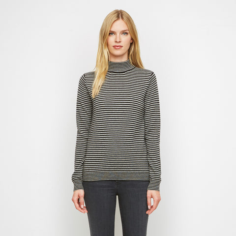 Cashmere Baby Stripe Mockneck Sweater - Black/Grey