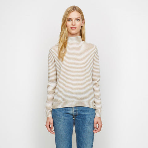 Cashmere Baby Stripe Mockneck Sweater - Oatmeal/White
