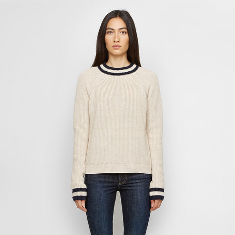 Cashmere Collegiate Stripe Sweater - Navy/Wheat - Final Sale