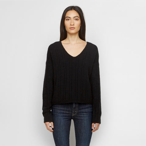 Cashmere Felt Ribbed V Neck Sweater - Black