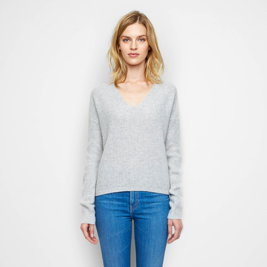 Cashmere Felt Ribbed V Neck Sweater - Light Grey