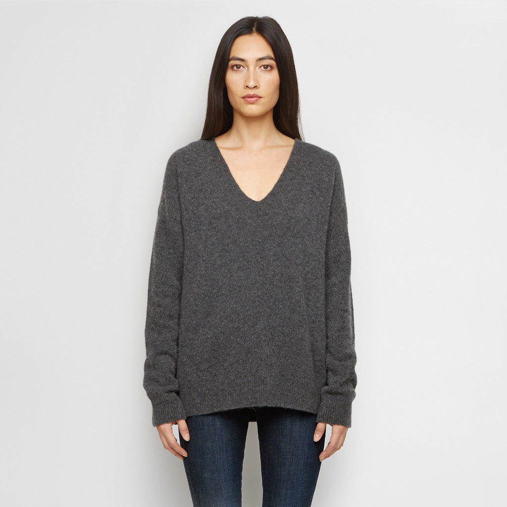 Cashmere Felt V Neck Sweater - Charcoal