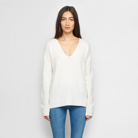 Cashmere Felt V Neck Sweater - Ivory