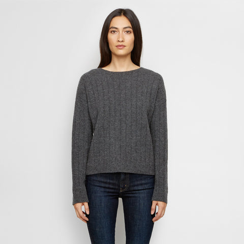 Cashmere Felt Wide Rib Crewneck Sweater - Charcoal - Final Sale