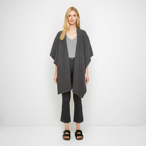 Cashmere Felt Wide Rib Poncho - Charcoal - Final Sale