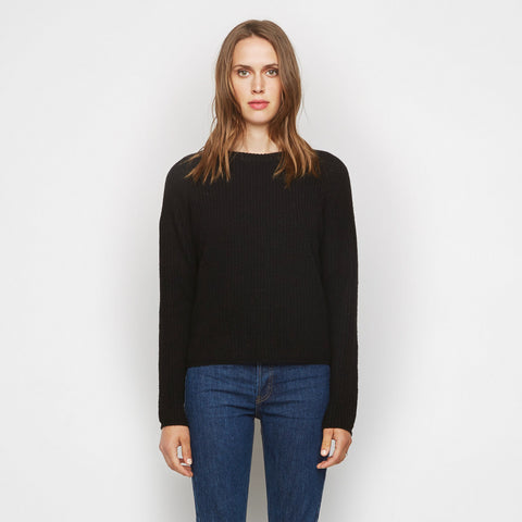 Cashmere Fisherman Sweater - Black