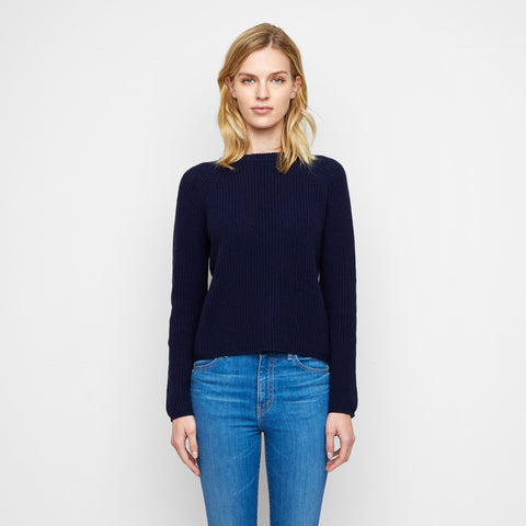 Cashmere Fisherman Sweater - Navy