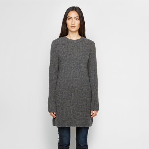 Cashmere Fisherman Tunic Sweater - Charcoal