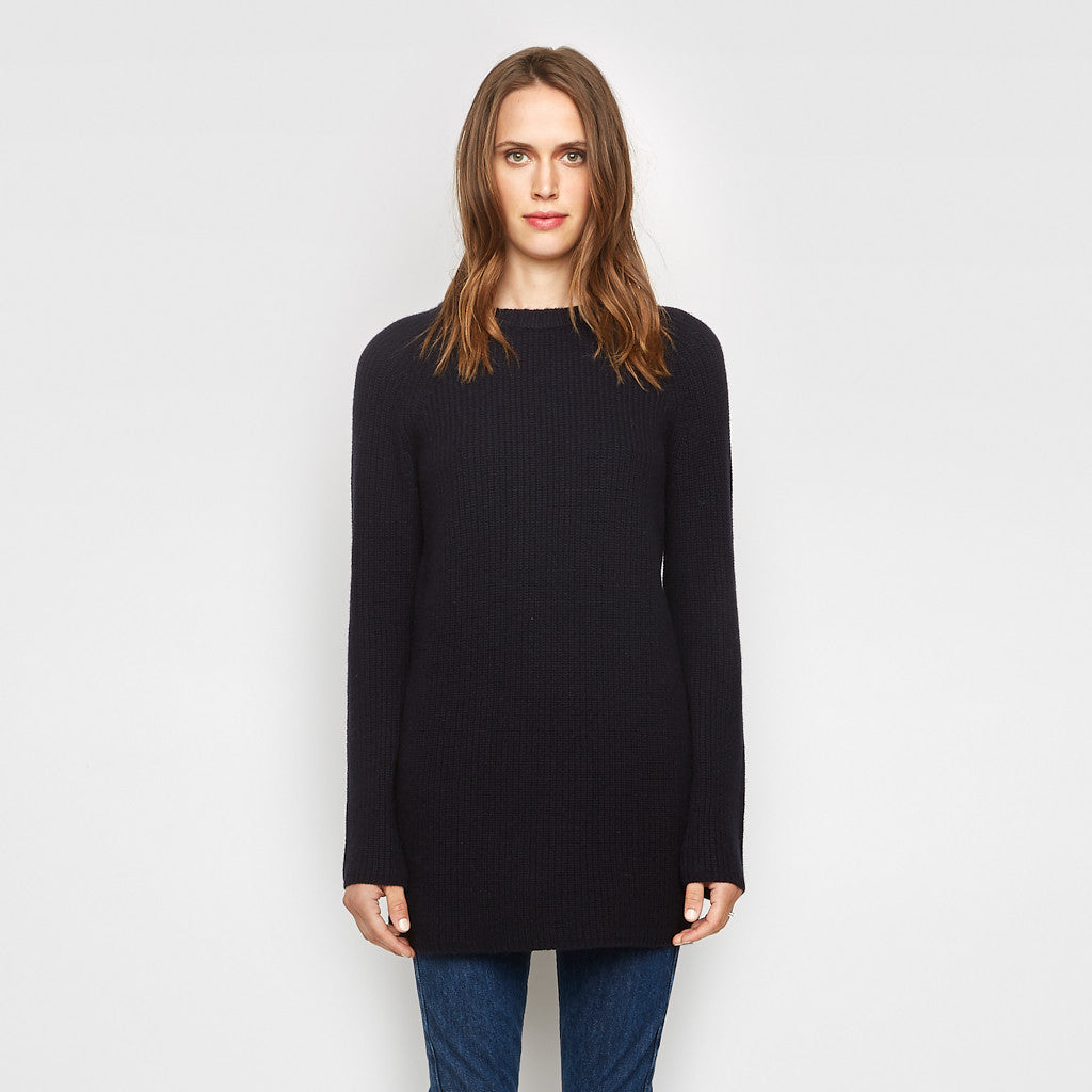 Cashmere Fisherman Tunic Sweater - Navy