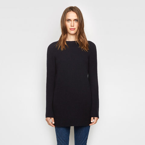 Cashmere Fisherman Tunic Sweater - Navy - Final Sale