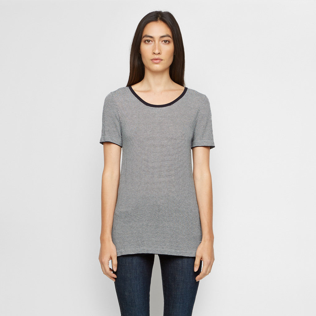 Cashmere Jersey Baby Stripe Tee - Navy/Ivory