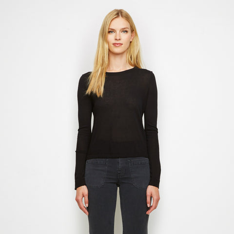 Cashmere Jersey Cropped Long Sleeve Tee - Black