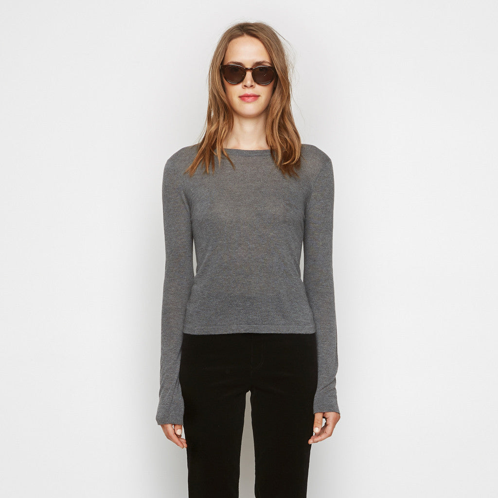 Cashmere Jersey Cropped Long Sleeve Tee - Grey