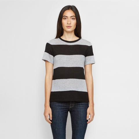Cashmere Jersey Cropped Rugby Stripe Tee - Heather Grey/Black - Final Sale