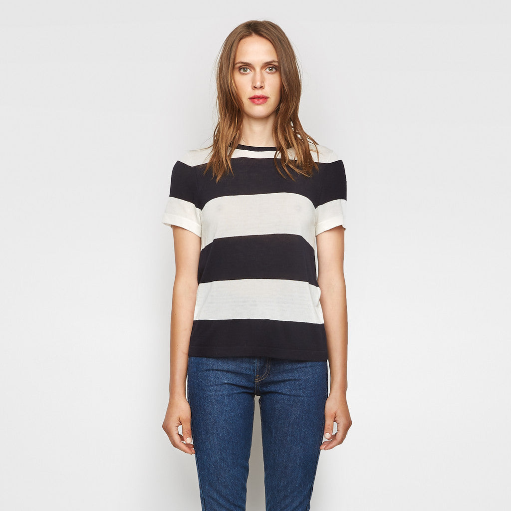 Cashmere Jersey Cropped Rugby Stripe Tee - Ivory/Navy - Final Sale