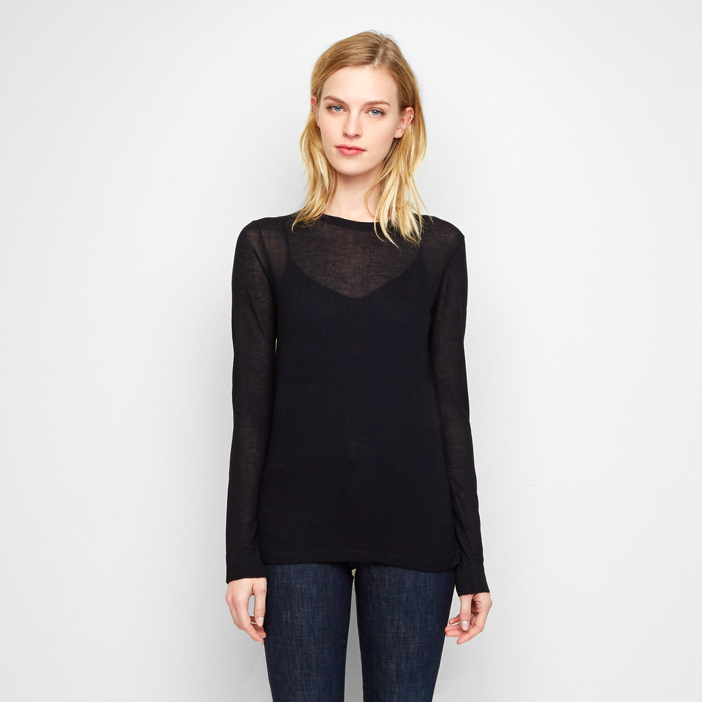 Cashmere Jersey Long Sleeve Tee - Black