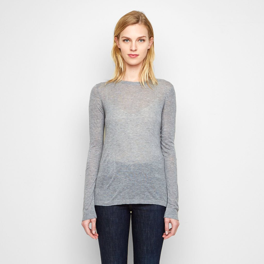 Cashmere Jersey Long Sleeve Tee - Grey