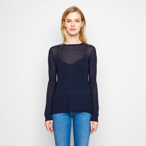 Cashmere Jersey Long Sleeve Tee - Navy