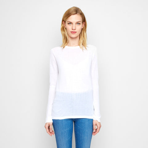 Cashmere Jersey Long Sleeve Tee - White
