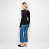 Cashmere Jersey Ribbed Long Sleeve Tee - Black