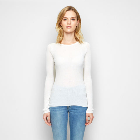 Cashmere Jersey Ribbed Long Sleeve Tee - Ivory