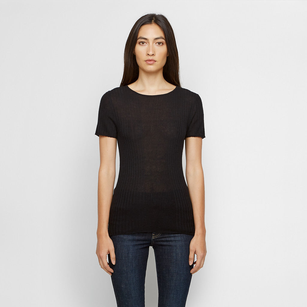 Cashmere Jersey Ribbed Tee - Black