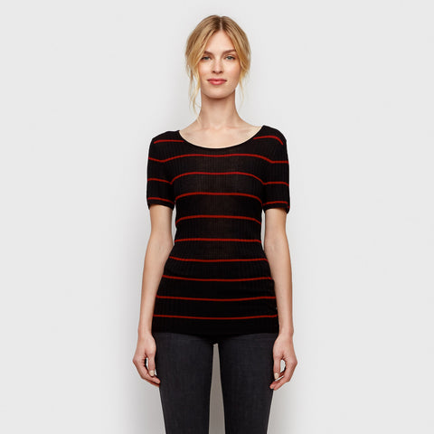 Cashmere Jersey Ribbed Tee - Black/Red