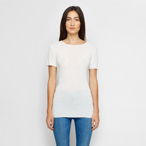 Cashmere Jersey Ribbed Tee - Ivory