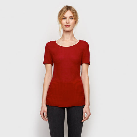 Cashmere Jersey Ribbed Tee - Red