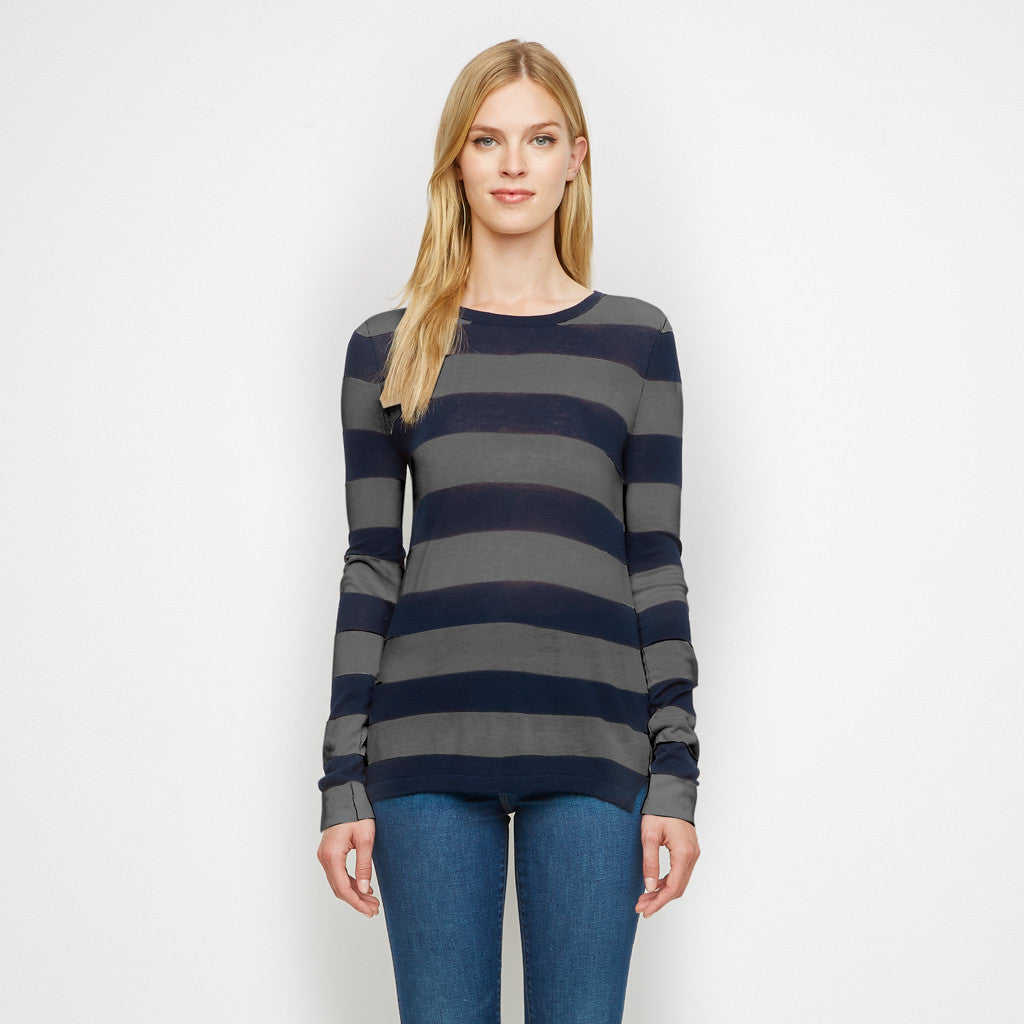 Cashmere Jersey Rugby Stripe Long Sleeve Tee - Navy/Grey
