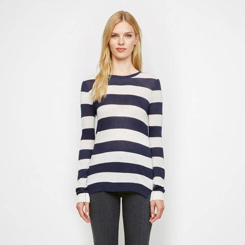 Cashmere Jersey Rugby Stripe Long Sleeve Tee - Navy/White - Final Sale