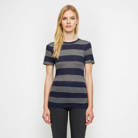 Cashmere Jersey Rugby Stripe Tee - Navy/Grey - Final Sale