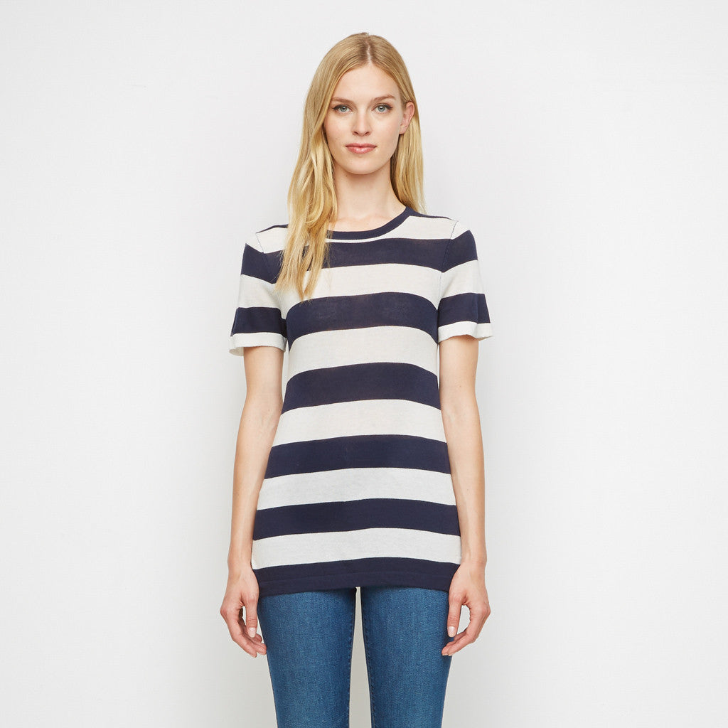 Cashmere Jersey Rugby Stripe Tee - Navy/White - Final Sale