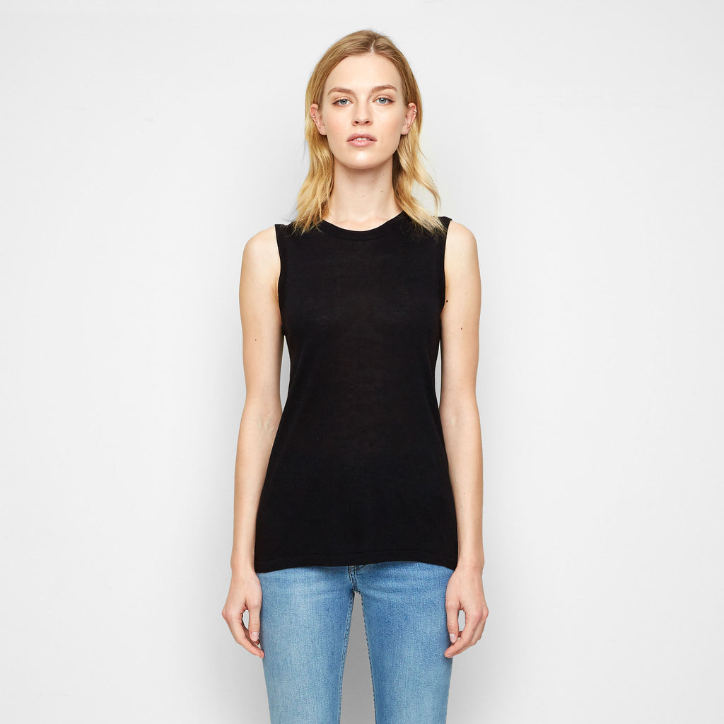 Cashmere Jersey Shell - Black