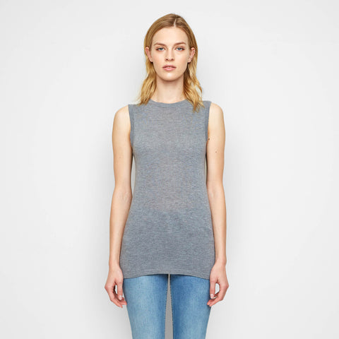 Cashmere Jersey Shell Tank - Grey