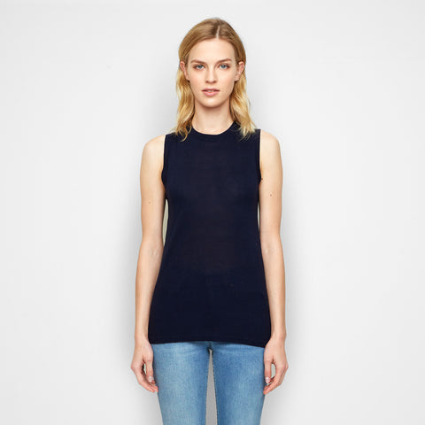 Cashmere Jersey Shell - Navy