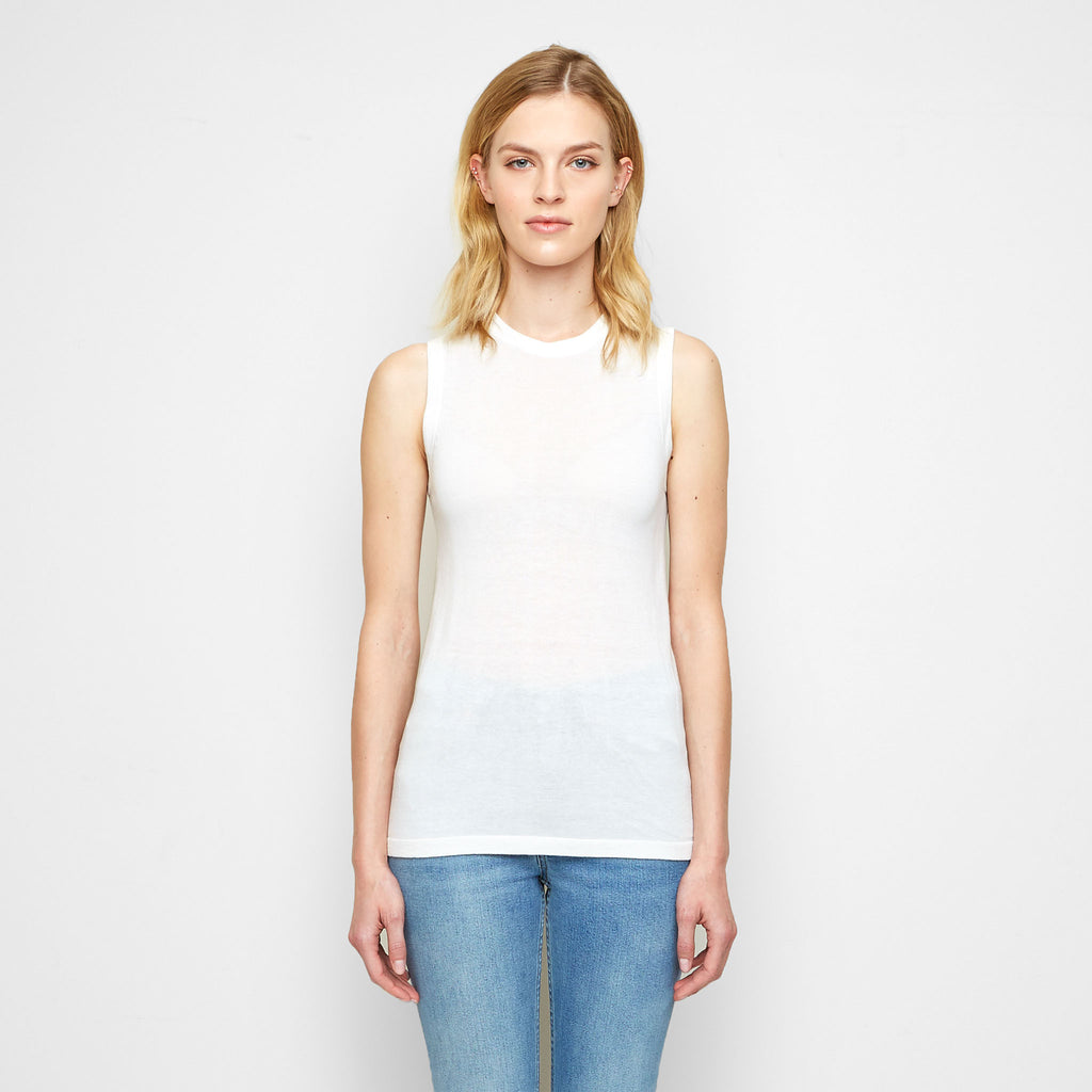 Cashmere Jersey Shell Tank - White